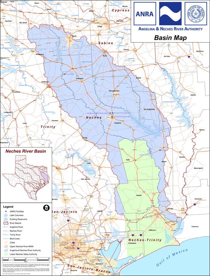 Detail Map Of Texas.Maps Jurisdiction Angelina Neches River Authority