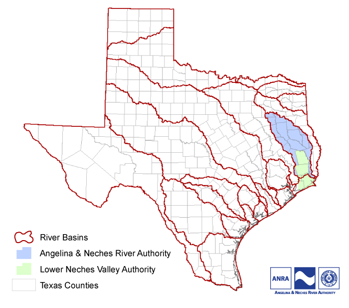 Maps Jurisdiction Angelina Neches River Authority - Texas rivers and lakes map